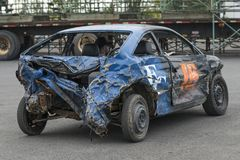 Wrecked car after demolition derby. Napierville demolition derby, July 2, 2017 Stock Photos