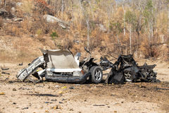 Wrecked car  from explosive in law enforcement training Royalty Free Stock Photo