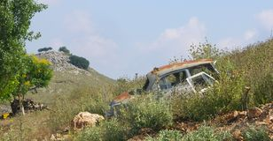 Wrecked Car Greece. Wrecked Car on hill Preveza Greece Royalty Free Stock Photo