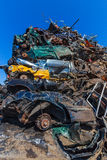 Wrecked car hill. Smashed cars in the landfill Stock Photography