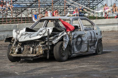 Demolition derby. Napierville demolition derby, July 12, 2015, picture of wrecked car after demolition derby royalty free stock photography