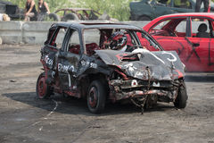 Demolition derby. Napierville demolition derby, July 12, 2015, picture of wrecked car during the demolition derby royalty free stock images