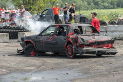 Demolition derby. Napierville demolition derby, July 12, 2015, picture of wrecked car during the demolition derby stock photos