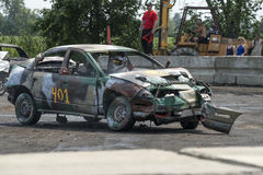 Demolition derby. Napierville demolition derby, July 12, 2015, picture of wrecked car during the demolition derby stock photography