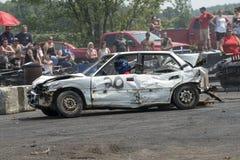 Demolition derby. Napierville demolition derby, July 12, 2015, picture of wrecked car during the demolition derby stock image