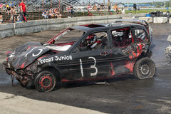 Demolition derby. Napierville demolition derby, July 12, 2015, picture of wrecked car during the demolition derby royalty free stock photo