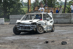 Demolition derby. Napierville demolition derby, July 12, 2015, picture of wrecked car during the demolition derby royalty free stock photos