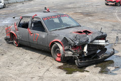 Wrecked car. Napierville demolition derby, July 12, 2015, picture of wrecked car out of competition during demolition derby stock image