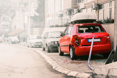 Wrecked car in a parking lot Royalty Free Stock Images