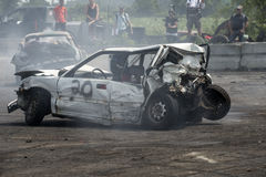 Demolition derby. Napierville demolition derby, July 12, 2015, picture of damaged rear end car during the demolition derby stock photo