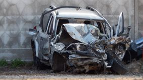 Wrecked car after road collision. Special storage for wrecked cars under investigation of road accident Stock Images