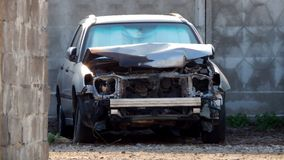 Wrecked car after road collision Royalty Free Stock Photo