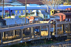 Wrecked cargo trains Stock Images