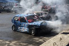 Wrecked cars in action during the demolition derby Royalty Free Stock Photography
