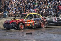 Wrecked cars in action during demolition derby Royalty Free Stock Photography
