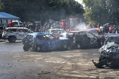 Wrecked cars in action during the demolition derby Royalty Free Stock Image