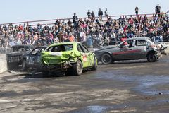 Wrecked cars in action during demolition derby Royalty Free Stock Photo