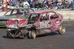 Wrecked cars after demolition derby Stock Images