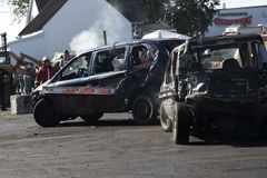 Wrecked cars during demolition derby Stock Photography
