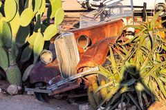 Wrecked cars in the desert surrounding Solitaire in Namibia stock photo