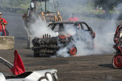 Demolition derby. Napierville demolition derby, July 12, 2015, picture of wrecked car during the demolition derby royalty free stock image