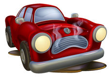 Wrecked cartoon car Royalty Free Stock Images