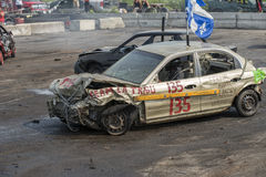 Demolition derby. Napierville demolition derby, July 12, 2015, picture of wrecked car front end at the end of the demolition derby royalty free stock photography