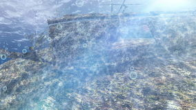 Wrecked old ship over green land under ocean with sun flare. Wrecked old ship over green land under the ocean water with sun flare stock video footage