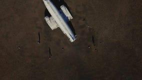 Wrecked plane on a black beach, Iceland