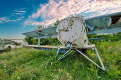 Wrecked plane. Cemetery of airplanes. Wrecked plane with beautiful sky in background. Cemetery of airplanes Royalty Free Stock Image
