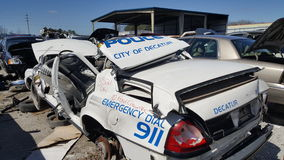 Wrecked police car Royalty Free Stock Images