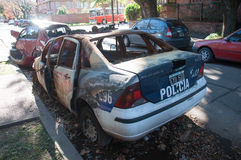 Wrecked police car parked in the strets of Buenos Aires, Argenti Royalty Free Stock Photo