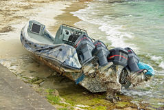 Wrecked Powerboat Stock Image