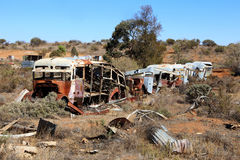 Wrecked rusting busses in the Australian outback Royalty Free Stock Photography