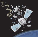 Wrecked satellite Royalty Free Stock Image