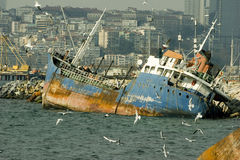 Wrecked ship in Istanbul Royalty Free Stock Photo