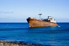 Wrecked ship in Lanzarote Stock Photography