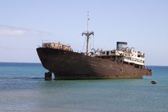 Wrecked ship in Lanzarote Stock Photography