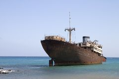 Wrecked ship in Lanzarote Royalty Free Stock Photos