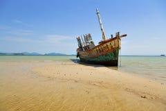 Wrecked Ship. At sea stock image