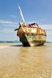 Wrecked Ship. At sea stock photos