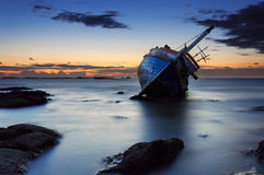 The wrecked ship, Thailand. The wrecked ship at the beach, Thailand royalty free stock photography