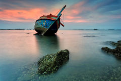 The wrecked ship, Thailand. The wrecked ship with a beautiful sunset , Thailand stock image