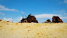 Wrecked ship. Beach klein curacao royalty free stock photo