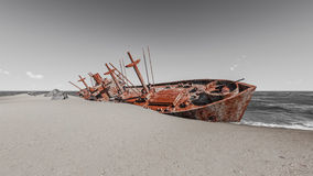 Wrecked ships Stock Photo