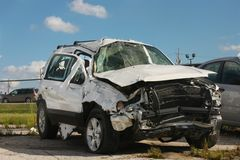 Wrecked SUV stock photos
