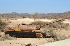 Wrecked tanks  in the Somali town of Borama Royalty Free Stock Image