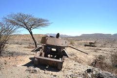 Wrecked tanks T - 34 in the Somali Royalty Free Stock Image