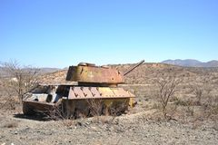 Wrecked tanks T - 34 in the Somali town of Borama Royalty Free Stock Photo