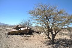 Wrecked tanks T - 34 in the Somali town of Borama Stock Photos